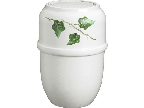 Bark urne hvid med efeu