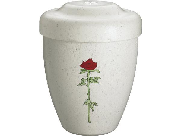 Hydria lys urne med rose. Indfarvet biofiberurne. i nedbrydeligt materiale.