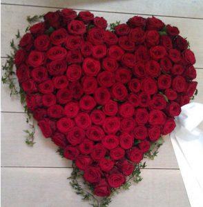 Hjerte af røde roser